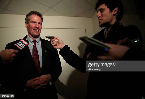 Senator-elect Scott Brown answers questions from the media outside his temporary office at the Senate Russell Office Building February 4, 2010 on...