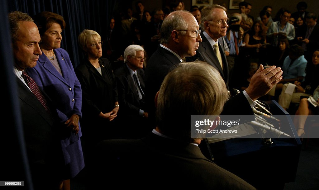 Senators Charles Schumer, D-Ny, Dianne Feinstein, D-Ca, Patty Murray, D-Wa, Edward Kennedy, D,Ma, Ken Salazar, S-Co, Richard Durbin, D-Nd, Harry Reid, D-Nv, speak about their disappointment over the defeat of the immigration bill in the Senate.
