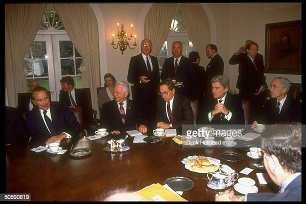 Senators Claiborne Pell John Warner Sam Nunn Robert Byrd and Bob Dole in the White House Cabinet Room in a meeting on the Gulf crisis with Senators...