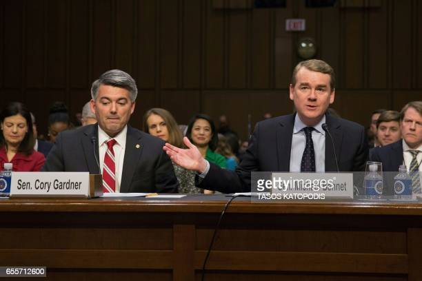 Senators Cory Gardner and Michael Bennet take part in the hearing of Neil Gorsuch during the Senate Judiciary Committee confirmation hearing as US...