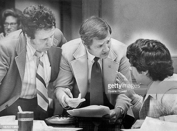 JUN 3 1975 Senators Discuss Amendments To BilingualEducation Bill Talking Tuesday are from left Roger Cisneros DDenver Ted Strickland RWestminsterj...