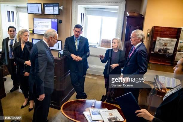Senators Ed Markey Kirsten Gillibrand Martin Heinrich and Minority Leader Chuck Schumer meet before heading into a press conference on the Senate...