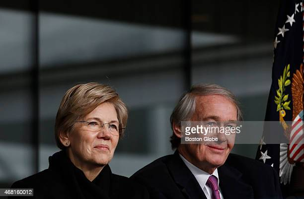 Senators Elizabeth Warren and Ed Markey right listen to remarks during a formal ceremony to dedicate the Edward M Kennedy Institute for the United...