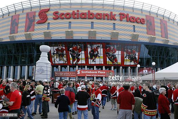 Senators fans gather outside of Scotiabank Place before the Ottawa Senators take on the Tampa Bay Lightning in Game 1 of the Eastern Conference...