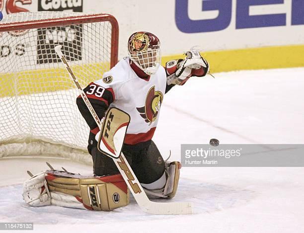 Senators goalie Dominik Hasek makes a first period save during the Ottawa Senators vs Philadelphia Flyers game at Wachovia Center in Philadelphia on...