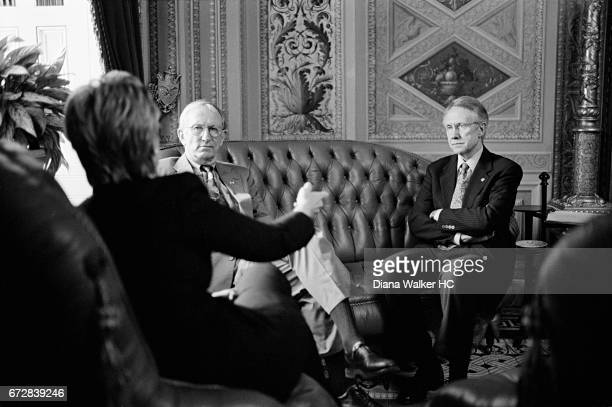 Senators Hillary Rodham Clinton James M Jeffords and Harry Reid are photographed discussing work of the Environment and Public Work committee on July...