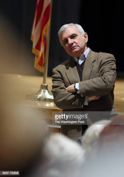 S Senators Jack Reed listens to questions from the audiance during a Town Hall with Senator Sheldon Whitehouse and US Congressman James Langevin at...