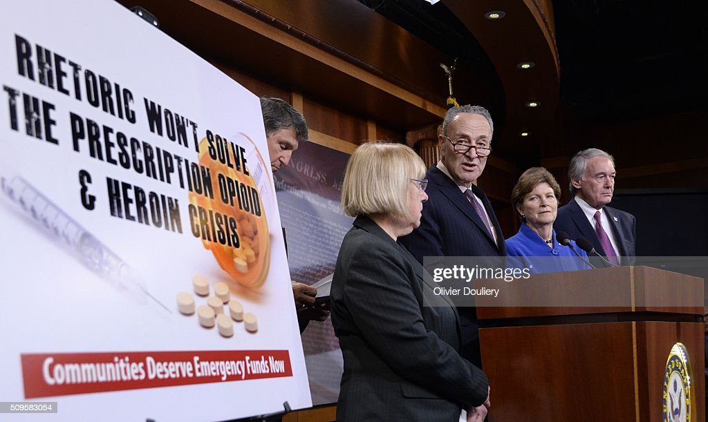 Senators Joe Manchin (D-WV), Patty Murray (D-WA), Chuck Schumer (D-NY), Jeanne Shaheen (D-NH) and Ed Markey (D-MA) attend a press conference at the U.S Capitol on February 11, 2016 in Washington, DC. The senators are calling on senate Republicans to support the passage of emergency funding to tackle the prescription opioid and heroin crisis.
