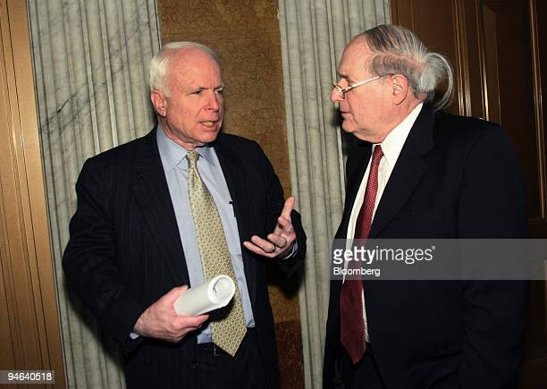 Senators John McCain left a Republican from Arizona and Carl Levin a Democrat from Michigan chat before attending their respective party luncheons on...