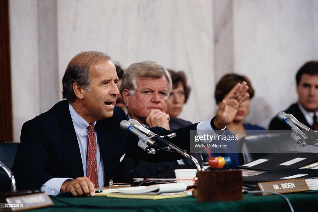 Senators Joseph Biden and Ted Kennedy During the Clarence Thomas Confirmation Hearings : News Photo