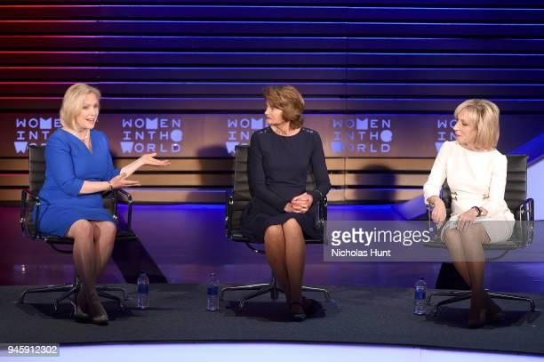Senators Kirsten Gillibrand Lisa Murkowski and journalist Andrea Mitchell speak on stage at the 2018 Women In The World Summit at Lincoln Center on...
