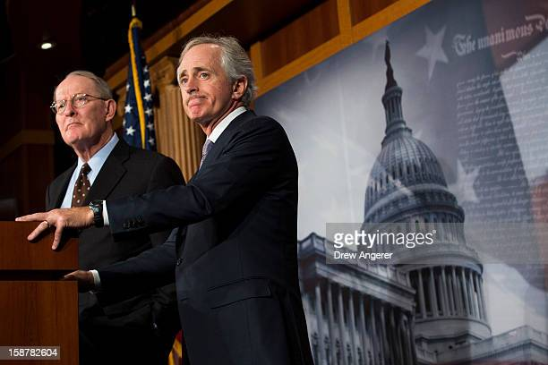 """Senators Lamar Alexander and Bob Corker hold a news conference about the """"Fiscal Cliff"""" on Capitol Hill December 28, 2012 in Washington, DC. Senators..."""