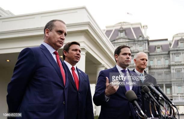 US senators Marco Rubio and Rick Scott along with Representative Mario DiazBalart and Florida Governor Ron DeSantis speak to reporters after a...