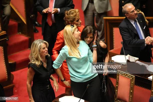 Senators Maria Rizzotti, Michaela Biancofiore, Jole Santelli and Paola Pelino in the Senate Chamber during the communication of the Deputy Prime...