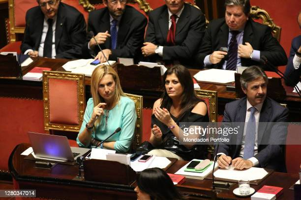 Senators Michaela Biancofiore and Jole Santelli in the Senate Chamber during the communication of the Deputy Prime Minister and Minister of the...