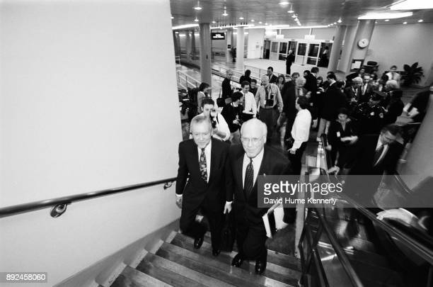 Senators Pat Leahy of Vermont and Orrin Hatch of Utah arrive at the US Capitol building on their way to the second to last day of the Senate...