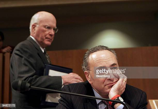 S Senators Patrick Leahy left and Charles Schumer question Supreme Court Associate Justice Nominee Judge Samuel Alito Tuesday January 10 2006 during...