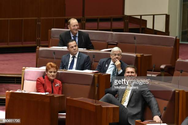 Senators Pauline Hanson Cory Bernardi Brian Burston Peter Georgiou and Fraser Anning vote in favour of amendments to the marriage equality bill in...