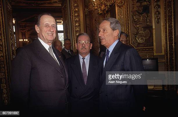 Senators Philippe de Gaulle and Roger Romani at the reopening of the French Senate