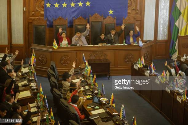 Senators raise their hands to approve a bill to hold new elections on November 23 2019 in La Paz Bolivia Interim president of Bolivia had presented a...