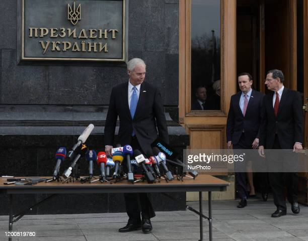 Senators Ron Johnson Chris Murphy and Senator John Barrasso leave President Zelensky Office in Kyiv Ukraine February 14 2020 US Senators visit...