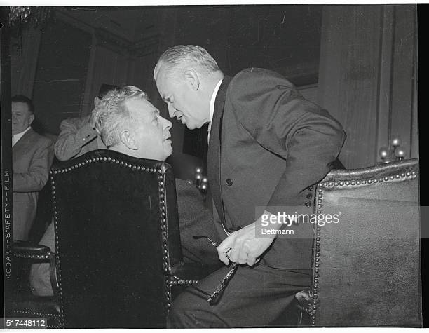 Senators Styles Bridges left and Everett Dirksen in a headtohead huddle during a Senate Republican policy conference in the Capitol here today prior...