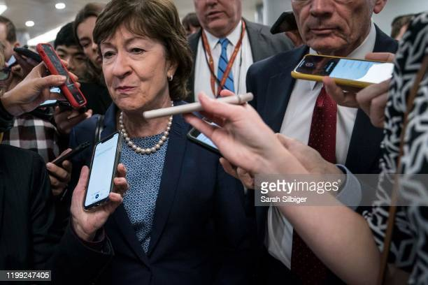 Senators Susan Collins walks from the Senate subway to the Senate chamber to cast a vote in the Senate impeachment trial of President Donald Trump...