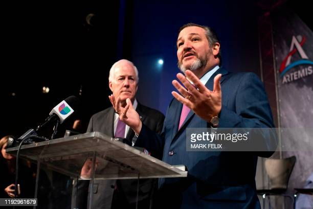 US Senators Ted Cruz and John Cornyn take part in the astronaut graduation ceremony at Johnson Space Center in Houston Texas on January 10 2020 The...