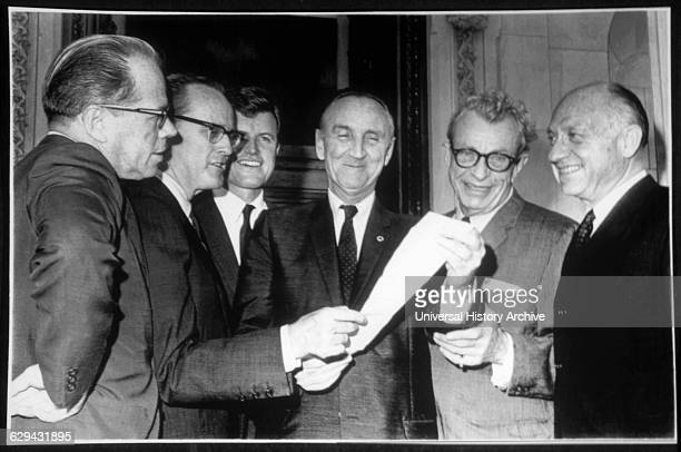 Senators Thomas Kuchel, Philip Hart, Edward Kennedy, Mike Mansfield, Everett Dirksen and Jacob Javits During Voting Rights Bill Passage, 1965.