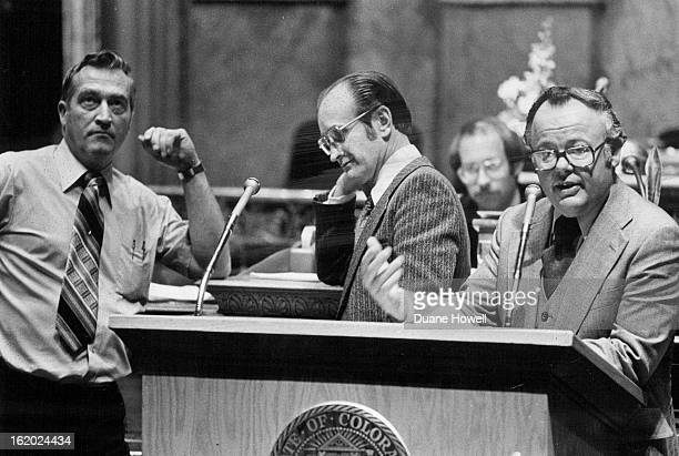 MAY 2 1979 MAY 3 1979 Senators with Something To Say Senate President Fred Anderson RLoveland makes a point during floor debate in Senate Thursday...