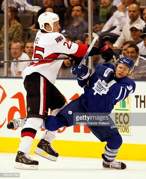 SENATORS09/24/07Toronto Maple Leafs Simon Gamache is hit by Ottawa Senators Chris O'Neil during period of play in Toronto September 24 2007 anw