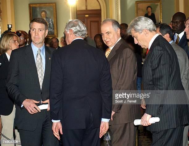 SENATORSAfter a lunch meeting with Senate Majority Leader Bill Frist RTenn left and Sen John W Warner RVa far right and members of the Iraq Governing...