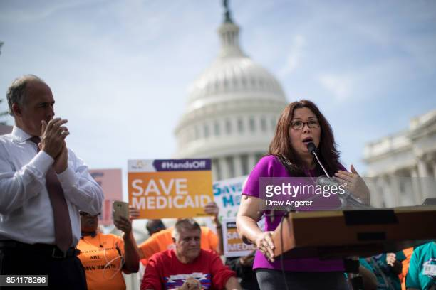 SenChris Van Hollen looks on as Sen Tammy Duckworth speaks during a news conference in opposition to the GrahamCassidy health care bill September 26...