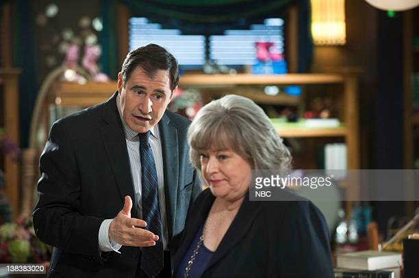 S LAW Send In The Clowns Episode 104 Pictured Richard Kind as Attorney Marty Slumach Kathy Bates as Harriet Harry Korn