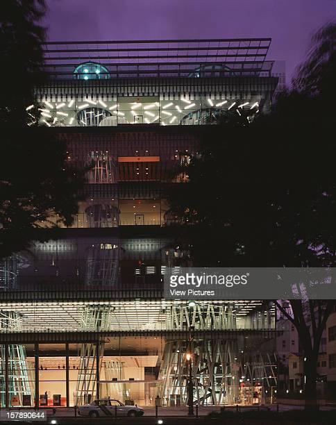 Sendai Mediatheque Sendai Japan Architect Toyo Ito Sendai Mediatheque Dusk View Of Street Elevation