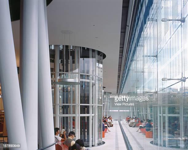 Sendai Mediatheque Sendai Japan Architect Toyo Ito Sendai Mediatheque Library Interior View Along Street Glazing On Level 3