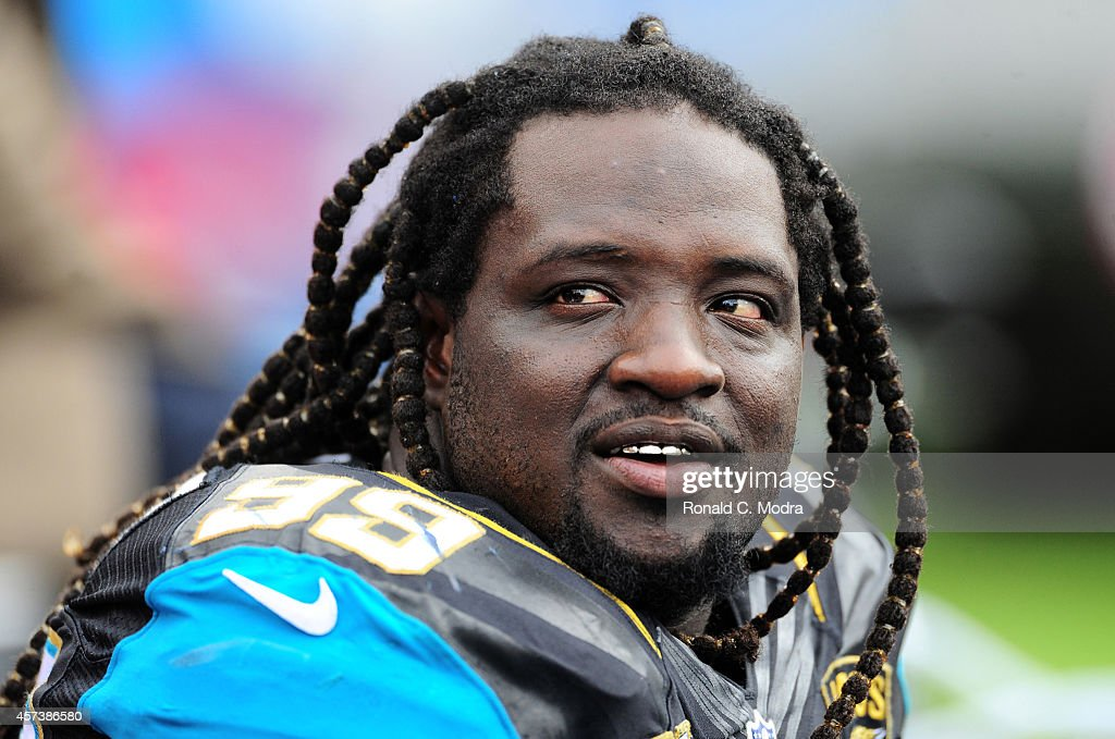 Sen'Derrick Marks #99 of the Jacksonville Jaguars looks on during a NFL game against the Tennessee Titans at LP Field on October 12, 2014 in Nashville, Tennessee.