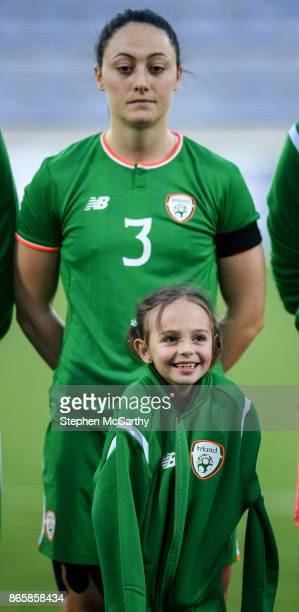 Senec Slovakia 24 October 2017 A mascot wears the jacket of Megan Campbell of the Republic of Ireland during the national anthems prior to the 2019...