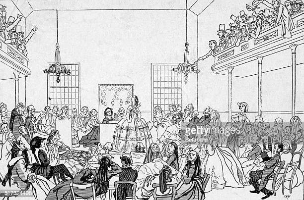 Cartoon representing feminist speaker denouncing men at the first Women's Rights Convention July 1920 Seneca Falls NY where the American feminist...