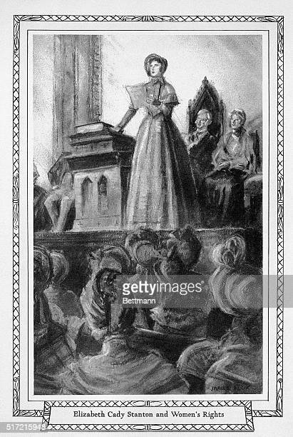 Mrs Elizabeth Cady Stanton is shown speaking during the first Woman's Rights Convention held in the Wesleyan Methodist Chapel in Seneca Falls NY July...