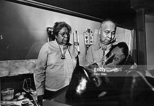 MAY 17 1978 MAY 18 1978 MAY 19 1978 Seneca Holy Man Avery Jimerson And His Wife Fidelia Examine Ceremonial Masks Iroquois masks will be among items...