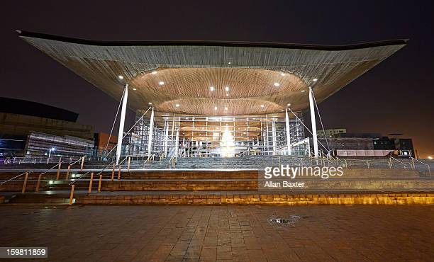 Senedd, Welsh Parliament building at night