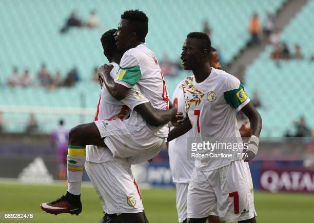 Senegal celebrate a goal only for it to be disallowed by video review during the FIFA U20 World Cup Korea Republic 2017 group F match between Senegal...