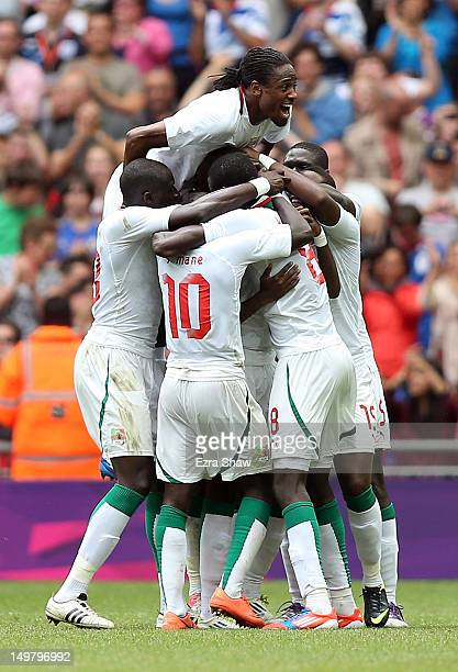 Senegal celebrates after Ibrahima Balde scored a goal during the Men's Football Quarter Final match between Mexico and Senegal, on Day 8 of the...