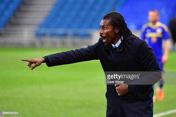 Senegal coach Aliou Cisse during the international friendly match match between Senegal and Bosnia Herzegovina on March 27 2018 in Le Havre France