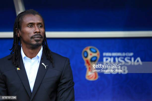 Senegal coach Aliou Cisse looks on ahead of the 2018 FIFA World Cup Russia Group H match between Poland and Senegal at Spartak Stadium on June 19...