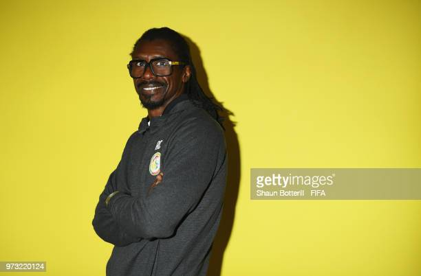 Senegal coach Aliou Cisse poses for a portrait during the official FIFA World Cup 2018 portrait session at the team hotel on June 13 2018 in Kaluga...