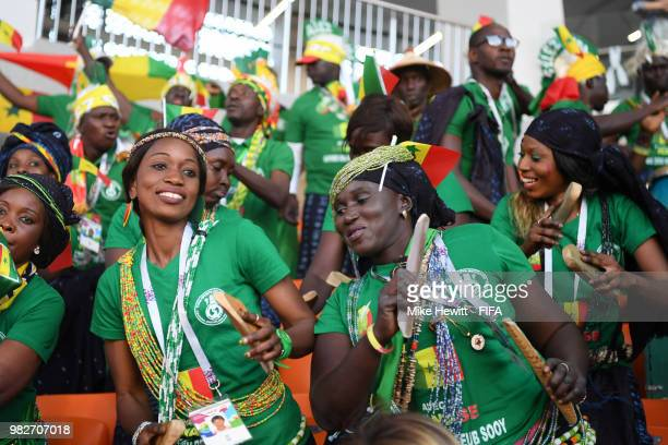 Senegal fans enjoy the pre match atmosphere prior to the 2018 FIFA World Cup Russia group H match between Japan and Senegal at Ekaterinburg Arena on...