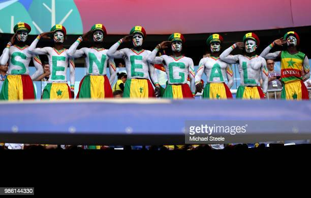 Senegal fans enjoy the pre match atmosphere prior to the 2018 FIFA World Cup Russia group H match between Senegal and Colombia at Samara Arena on...