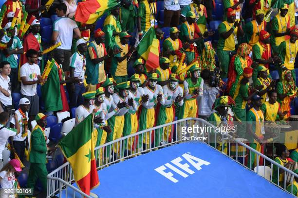 Senegal fans show their support during the 2018 FIFA World Cup Russia group H match between Senegal and Colombia at Samara Arena on June 28 2018 in...